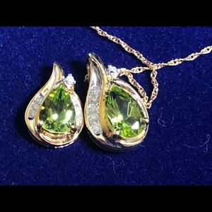 Peridot, diamonds and 14k gold necklace & earrings